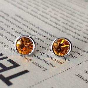 Lia Sophia Bright Orange Mini Stud Earrings